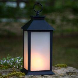 Schwarze LED-Laterne m. Flammen-Effekt-Licht
