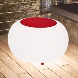 Bubble Outdoor Tisch, Licht weiß + Filz rot
