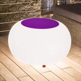 Bubble Outdoor Tisch, Licht weiß + Filz violett