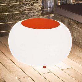 Bubble Outdoor Tisch, Licht weiß + Filz orange