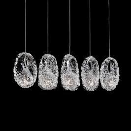 Kunstvolle Glas-Hängeleuchte Genesi, fünfflammig