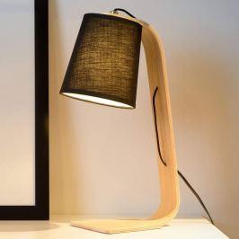Schwarzer Textil-Schirm - Holz-Tischleuchte Nordic
