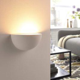 Halbrunder LED-Wandfluter Narin aus Gips, weiß