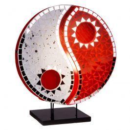 Spiegelnde Tischleuchte Ying Yang rot-weiß