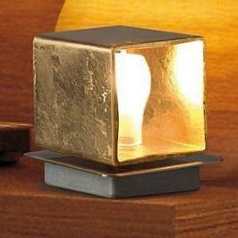 Cube - handgefertigte Tischleuchte, Blattgold