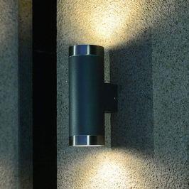 2-flammige Außenwandlampe Berlin in Anthrazit