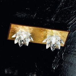 Fiore-Deckenleuchte m. Blattgold u. Kristall, 2-fl