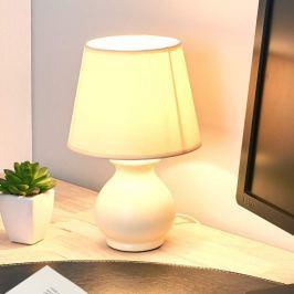 Kleine Keramik-Tischleuchte Mia, taupe