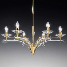 Kronleuchter ICARO 6-fl. mit Kristallglas, gold