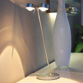 2-flammige Tischleuchte PUK TABLE, chrom matt
