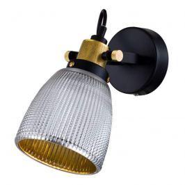 Außen chrom, innen gold - Glas-Wandlampe Tempo