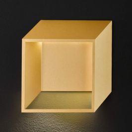 Goldfarbene LED-Wandleuchte Quebec in Würfelform