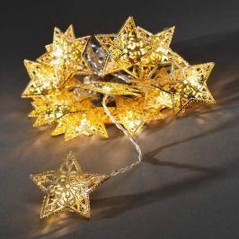 16-flammige LED-Lichterkette mit goldenen Sternen