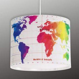 Kinderzimmer-Hängeleuchte Map mit Weltkarte