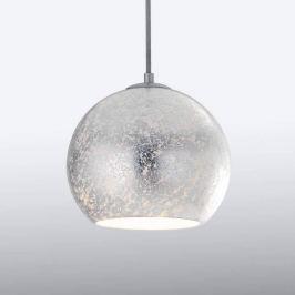 Glas-Hängelampe Vanity in besonderer Optik, silber