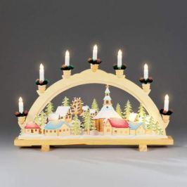 Adventlicher Schwibbogen Weihnachtsdorfmotiv 57cm