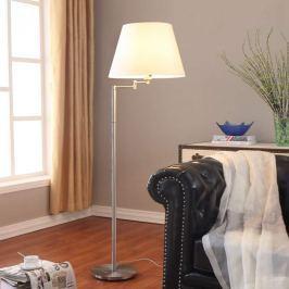 Attraktive Stehlampe Pola mit weißem Stoffschirm