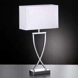 Hübsche Textil-Tischleuchte Anni chrom-weiß