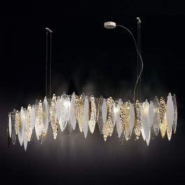 LED-Hängeleuchte Ice Rain transparent, weiß, gold