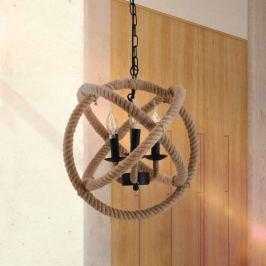 Kugelförmige Hängeleuchte aus Metall und Naturseil