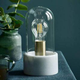 Edle Marmor-Tischleuchte Siv mit Glaskuppel, weiß