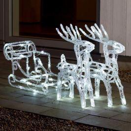 Funkelnde LED-Außendeko Rentiere m. Schlitten