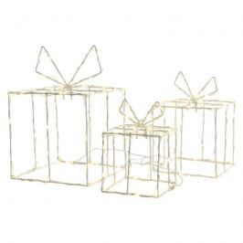 Im 3er-Set - leuchtende LED-Geschenkboxen f. außen