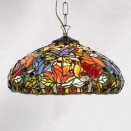 Hängeleuchte Elaine, floraler Tiffany-Stil, 2fl.