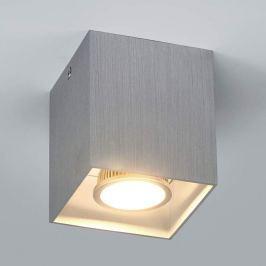 Alufarbene Aufbau-Deckenlampe Carson, eckig