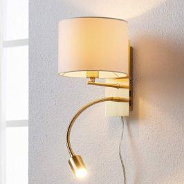 Messingfarbene Wandlampe Florens m LED-Leseleuchte