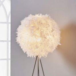 Pauline - Dreibein-LED-Stehlampe mit Federschmuck