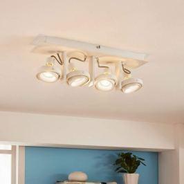 Weiße, vierflammige LED-Deckenleuchte Teska