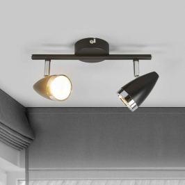 2-flammiger LED-Strahler Ron, schwarz und chrom