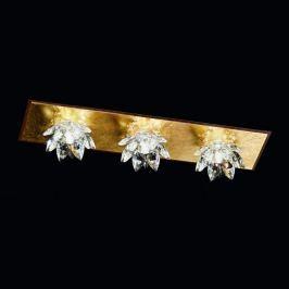 Fiore-Deckenleuchte m. Blattgold u. Kristall, 3-fl