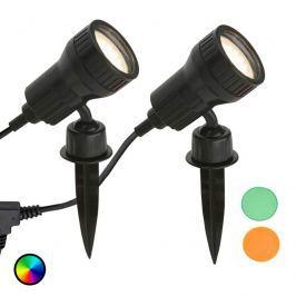 2er Set - LED-Erdspießleuchte Terra m. Farbfiltern