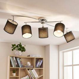 5-flammige LED-Textildeckenleuchte Mirola, schwarz