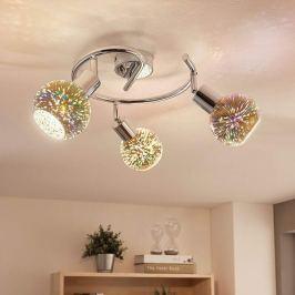 3-flammiges LED-Deckenrondell Isumi, Firework-Glas