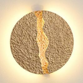 Eruption - runde, goldfarbene LED-Wandleuchte