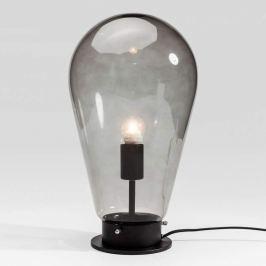 KARE Bulb - graue Glastischlampe mit schwarzem Fuß
