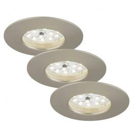 3er Set Felia LED-Einbauleuchte IP44, nickel matt