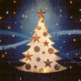 LED-Fiberoptik-Bild Weihnachtsbaum im Schnee