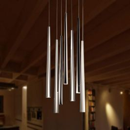 Siebenflammige LED-Pendelleuchte Lucid XL, chrom
