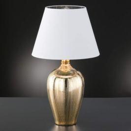 Glänzende Tischlampe Belly m. Keramikfuß gold