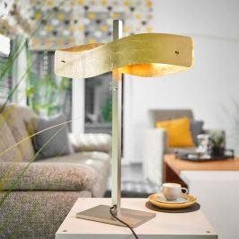 Goldfarbene LED-Tischleuchte Lian mit Tastdimmer
