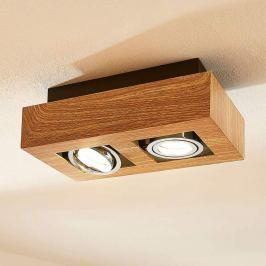 2-flammiger LED-Strahler Vince, holzfarben