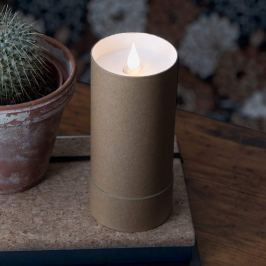 LED-Kerze in Zylinder m. Deckel - 3D Flamme, braun