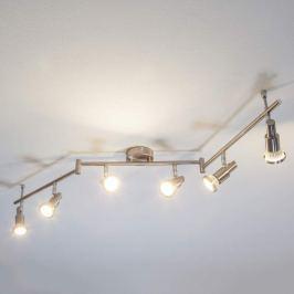 Nickelfarbene LED-Deckenleuchte Aron, 6-fl.
