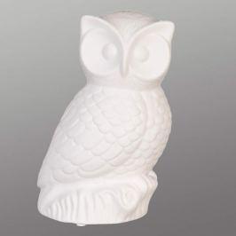 Aus weißer Keramik - Tischlampe Owli