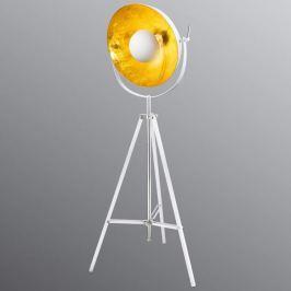 Weiße Dreibein-Stehleuchte Xirena, innen gold