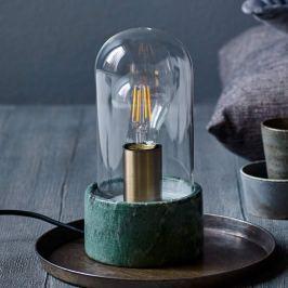 Edle Marmor-Tischleuchte Siv mit Glaskuppel, grün